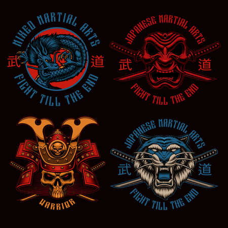 A set of colorful Samurai-themed badges, these illustrations can be used as shirt prints, translation of Japanese characters in the file layer name