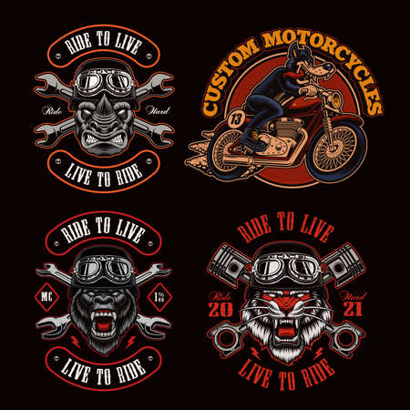 A bundle of biker-themed vector illustrations, these design can be used as shirt prints as well as for many other uses