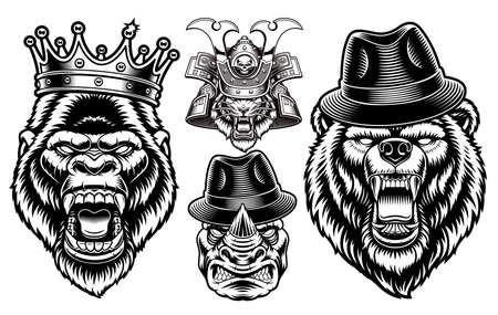 A set of black and white animal mascots, these perfect vector illustrations can be used as emblems, shirt prints as well as many other uses.