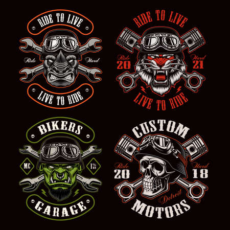 A set of biker themed vector illustrations, these designs can be used as shirt prints, emblems, or for many other uses