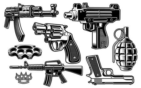 A set of black and white vector illustration of weapon isolated on white background Ilustração