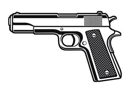a black and white illustration of a gun 矢量图像