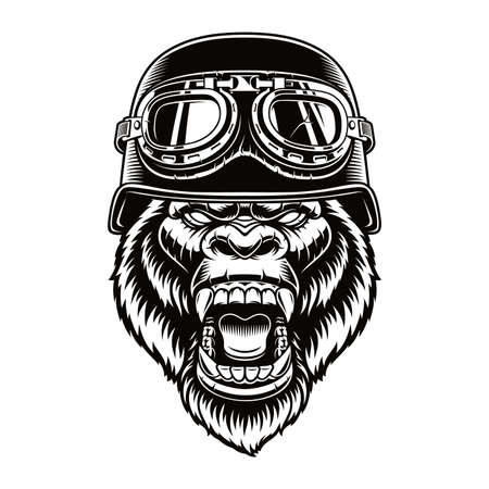 Black and white vector illustration of a gorilla biker character
