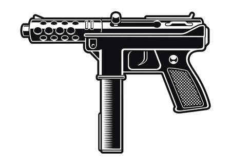 Black and white vector illustration of an automatic pistol 矢量图像