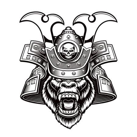 Black and white vector illustration of a gorilla samurai 矢量图像