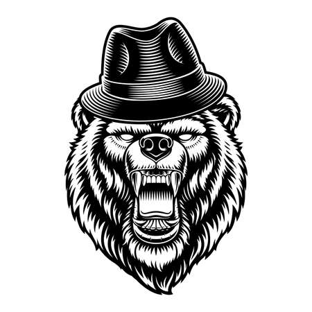 Black and white vector illustration of a bear in a hat
