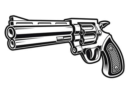 a black and white vector illustration of a revolver gun isolated on white background