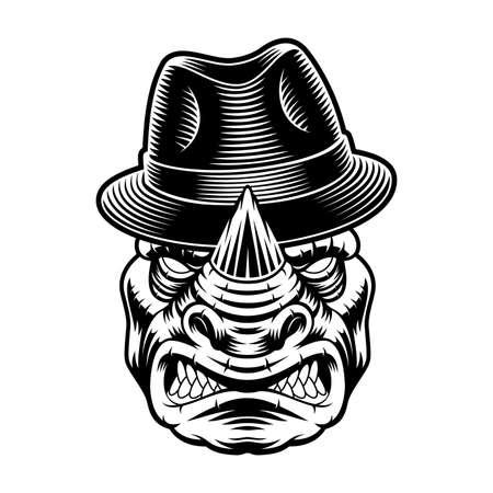 Vector illustration of a rhinoceros in hat 矢量图像