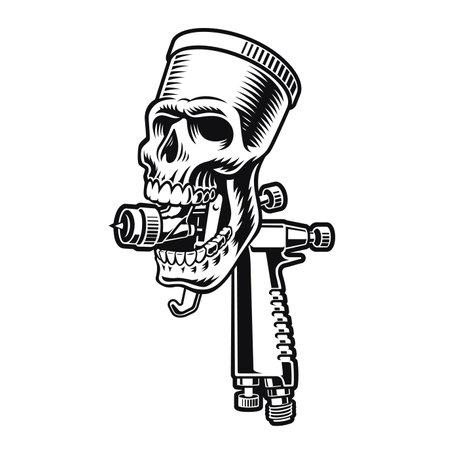 A skull spray gun vector illustration isolated on white background 矢量图像