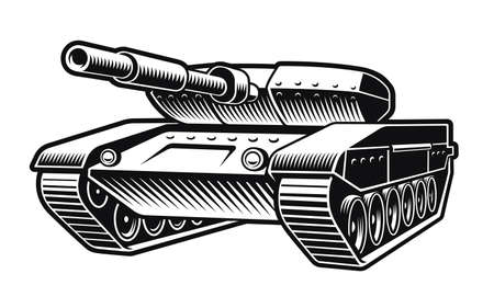 black and white vector illustration of a tank isolated on white background