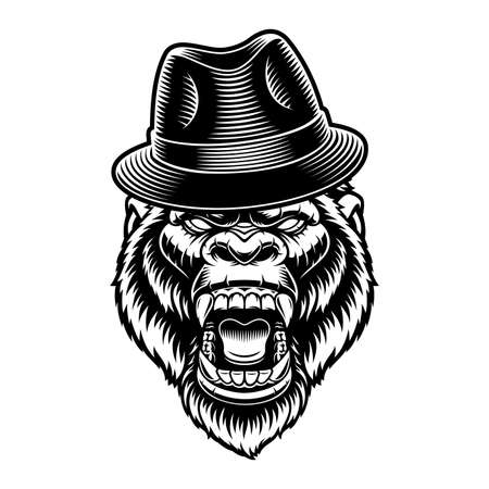 Black and white vector illustration of a gorilla in a hat 矢量图像