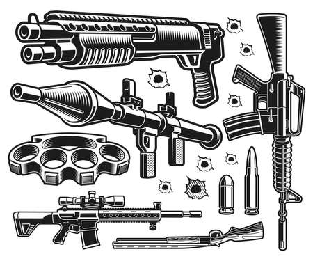 A set of black and white vector weapon illustrations isolated on white background 矢量图像