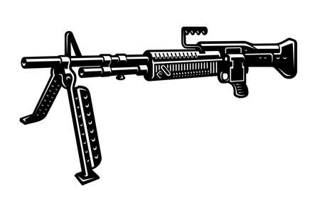 black and white vector illustration of a machine gun isolated on white background