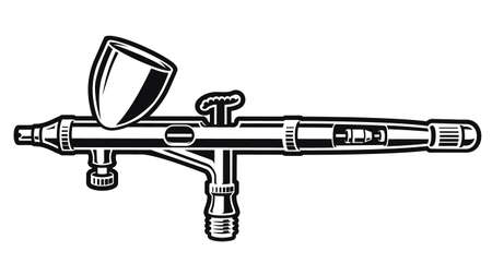 black and white vector illustration of an airbrush isolated on white background