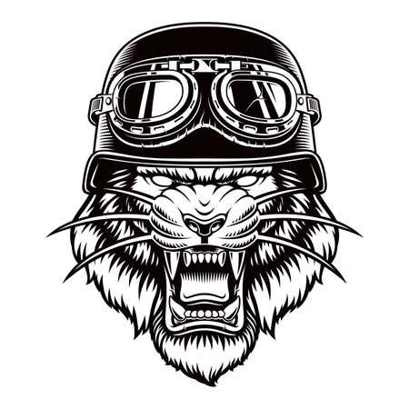 Black and white vector Tiger in a biker helmet