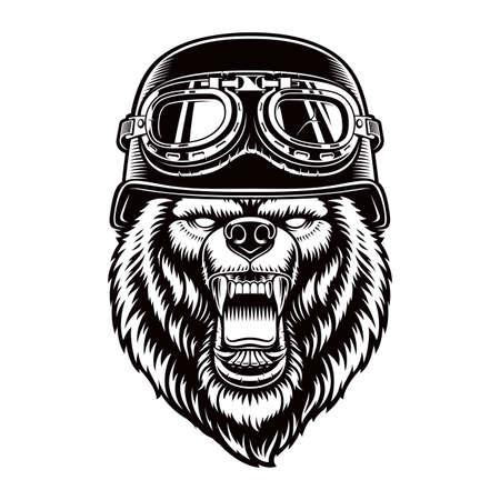 Black and white vector illustration of a bear in biker helmet 矢量图像