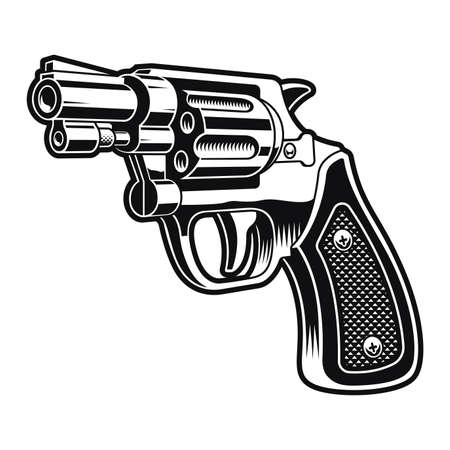 a black and white vector illustration of a short revolver gun on white background
