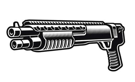 a black and white vector illustration of a shotgun isolated on white background