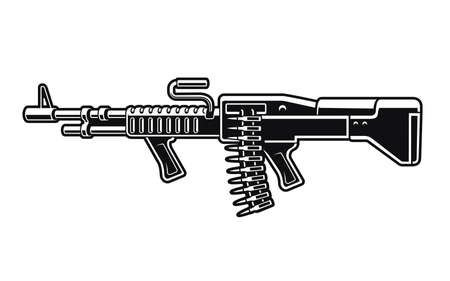 Black and white vector illustration of an American machine gun isolated on white background 矢量图像