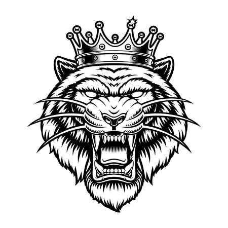 Vintage vector illustration of a tiger in a crown