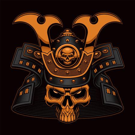 Colorful Samurai Skull vector illustration on the black background