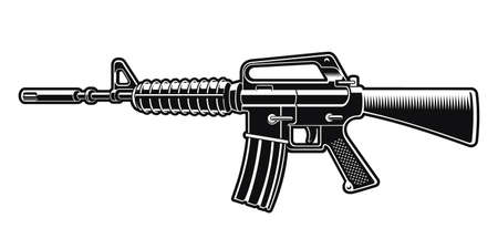 Black and white vector illustration of the  rifle isolated on white background