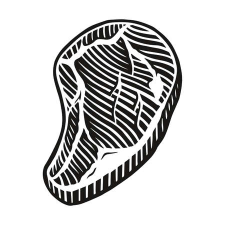 A black and white vector illustration of a meat steak isolated on white background