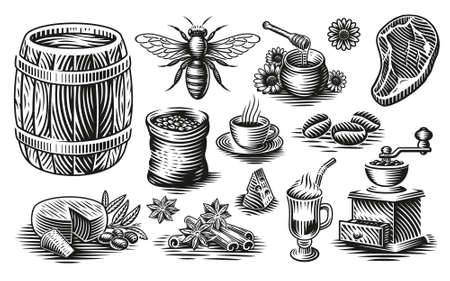 A set of black and white vector illustrations of different kinds of food in vintage style