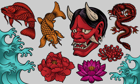 A set of vector illustrations for a Japanese theme, Japan clipart, these illustrations can be used for many creative products such as shirt prints, stickers, and many other.