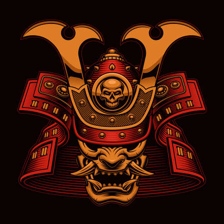 Samurai vector illustration, this design can be used as an emblem for a company or as shirt print, all the details are on separate layers and easily editable.