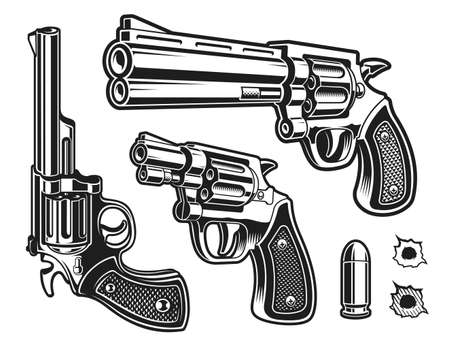 A set of black and white vector revolvers isolated on white background