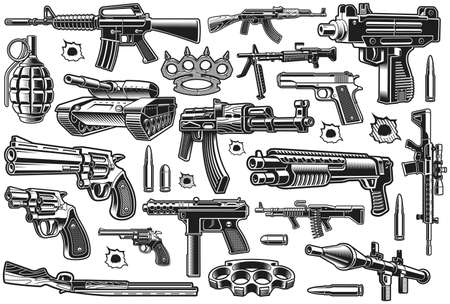 A bundle of different vector weapons isolated on white background 矢量图像