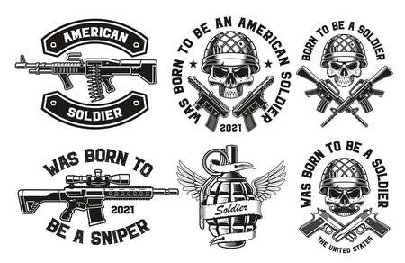 A set of vector illustrations for a military theme, these designs can be used as a t-shirt designs