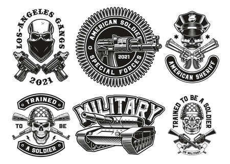 A set of vector military illustrations, these designs can be used as t-shirt designs
