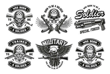 a set of vintage vector military illustrations, these designs can be used as t-shirt prints