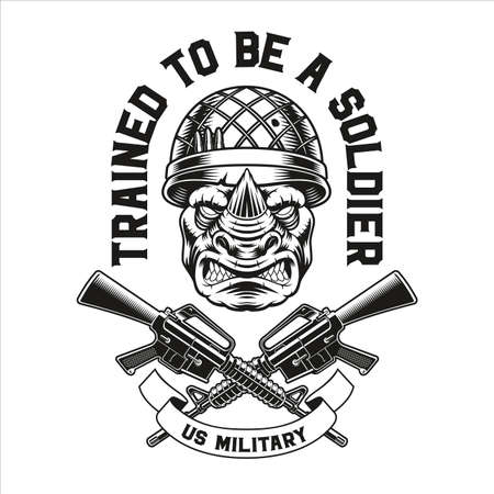 Vector illustration of a rhinoceros soldier, this design can be used as t-shirt print