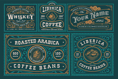 Vintage labels bundle, these designs are perfect for alcohol branding, coffee products, and many other