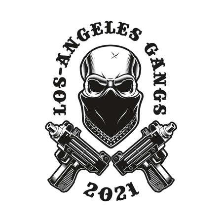 Vector illustrations of gangsta skull in a bandana with crossed pistols