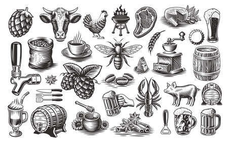 Vintage Food Vector Clipart, a set of black and white illustrations for such themes as brewery, cheese dairy, honey, bbq, coffee, and much more 矢量图像