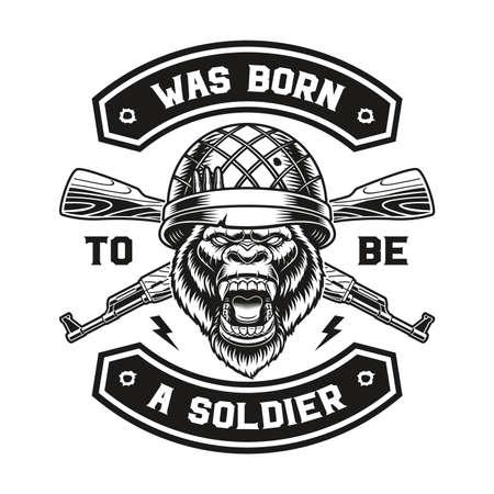 a vector illustration of a gorilla soldier t-shirt design.