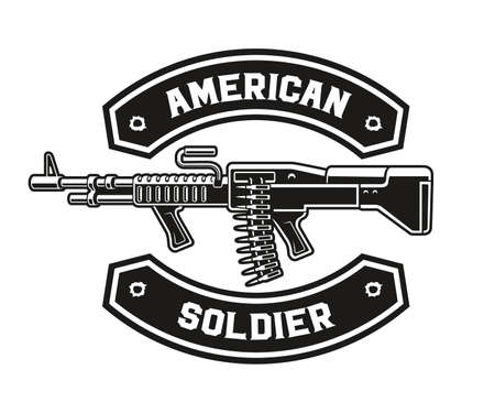 A black and white vector illustration of a machine gun, perfect for a t-shirt print 矢量图像