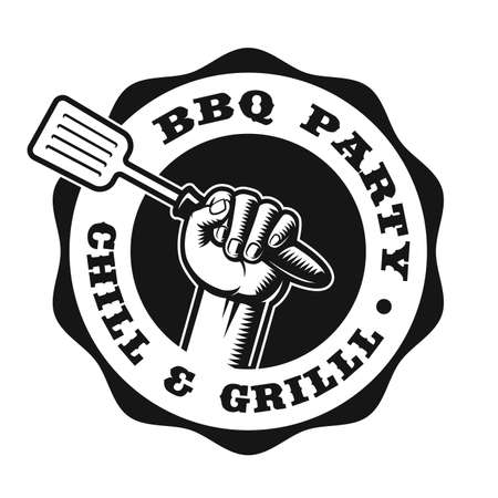 A black and white vintage badge for a BBQ theme on white background