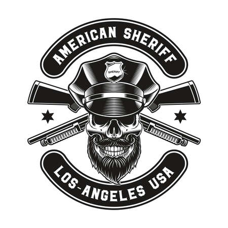 a vector vintage illustration of a policeman skull, this design can be used as a t-shirt print