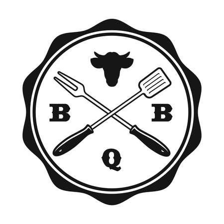 a vintage BBQ label on white background