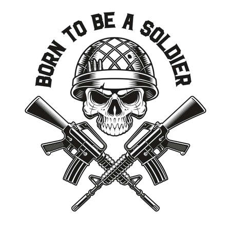 a vector illustration of a skull soldier with M16 rifles, this design can be used as a t-shirt print 矢量图像