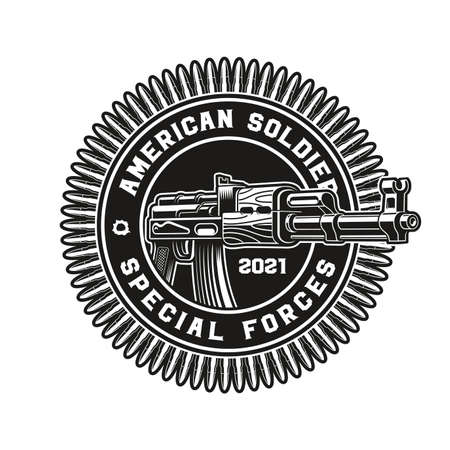 a vector illustration of an AK47 rifle, this design can be used as a t-shirt print