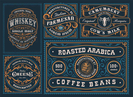 A set of different labels in retro style, these designs can be used for alcohol branding, coffee products, cheese packages and many other
