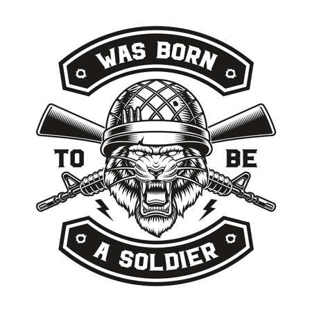 a vector illustration of a tiger soldier t-shirt design. 矢量图像