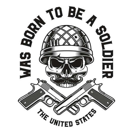 a vector illustration of a skull with guns, this design can be used as a t-shirt print