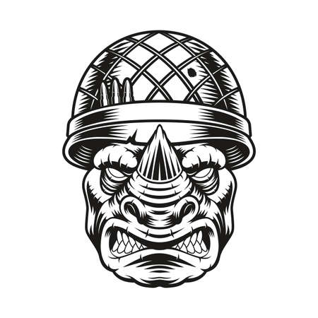 a vector illustration of a rhinoceros soldier on white background 矢量图像